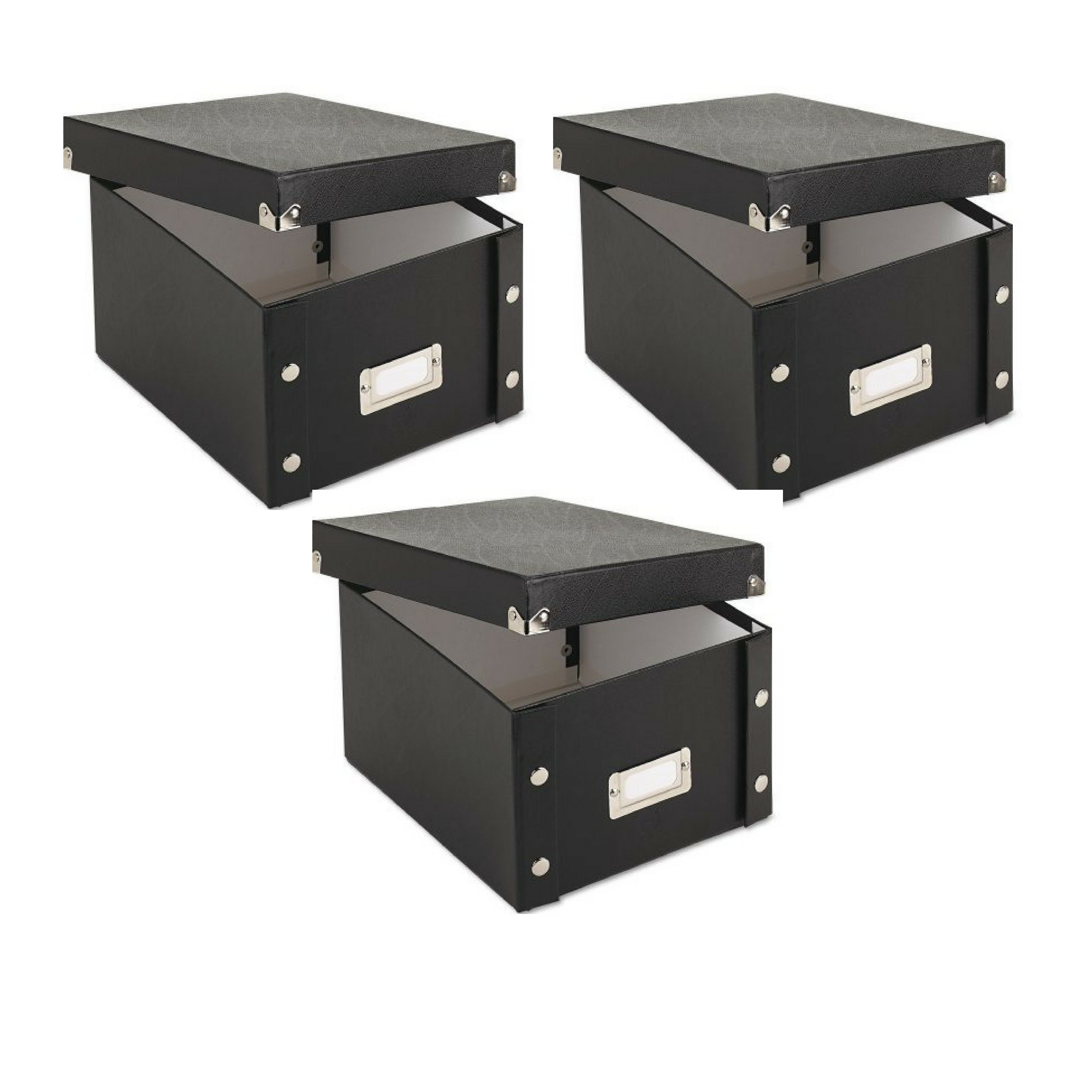 Snap-N-Store Collapsible Index Card File Box, Holds 1,100 5 x 8 Cards, Black - 3