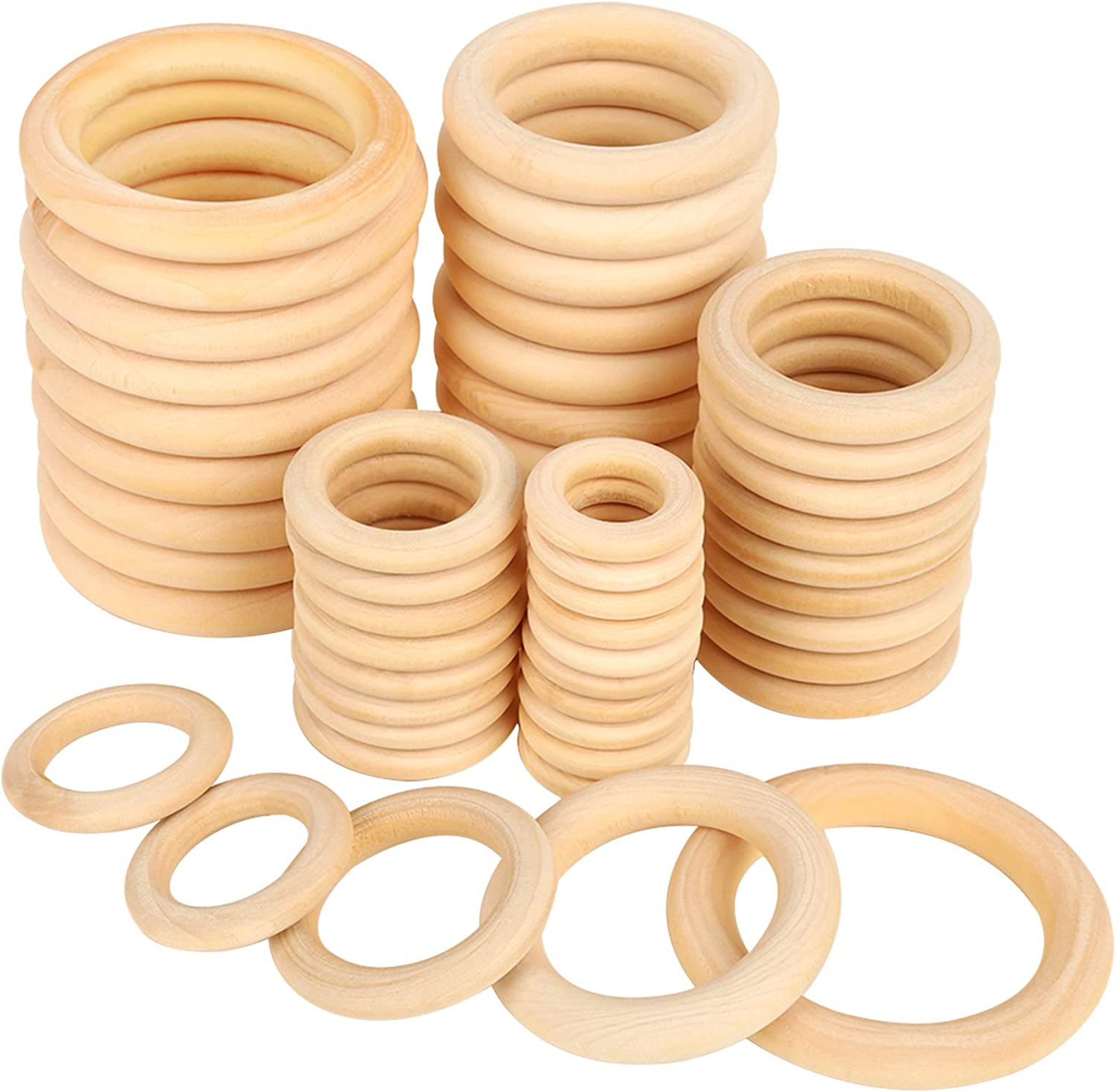 5-50Pcs DIY Accessories Wooden Ring Round Circle Buckle Craft Curtain Decoration