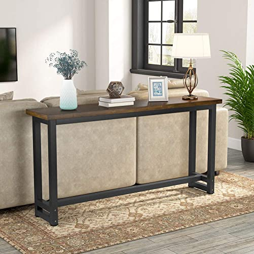 Tribesigns 70.9 Inches Extra Long Industrial Sofa Table, Wood Behind Couch Table, Rustic Console Table for Living Room Entryway, Narrow Pub Bar Table for Home, Dark Brown