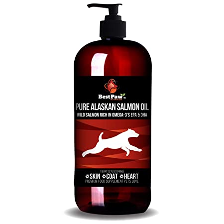 Wild Alaskan Salmon Oil for Dogs Cats Pure Omega 3 Fish Oil Supplement Rich in for Allergies Dry Itchy Skin Paws Relief All Natural Healthy Joints Support Soft Coat Anti-Shedding Aid Pets Love