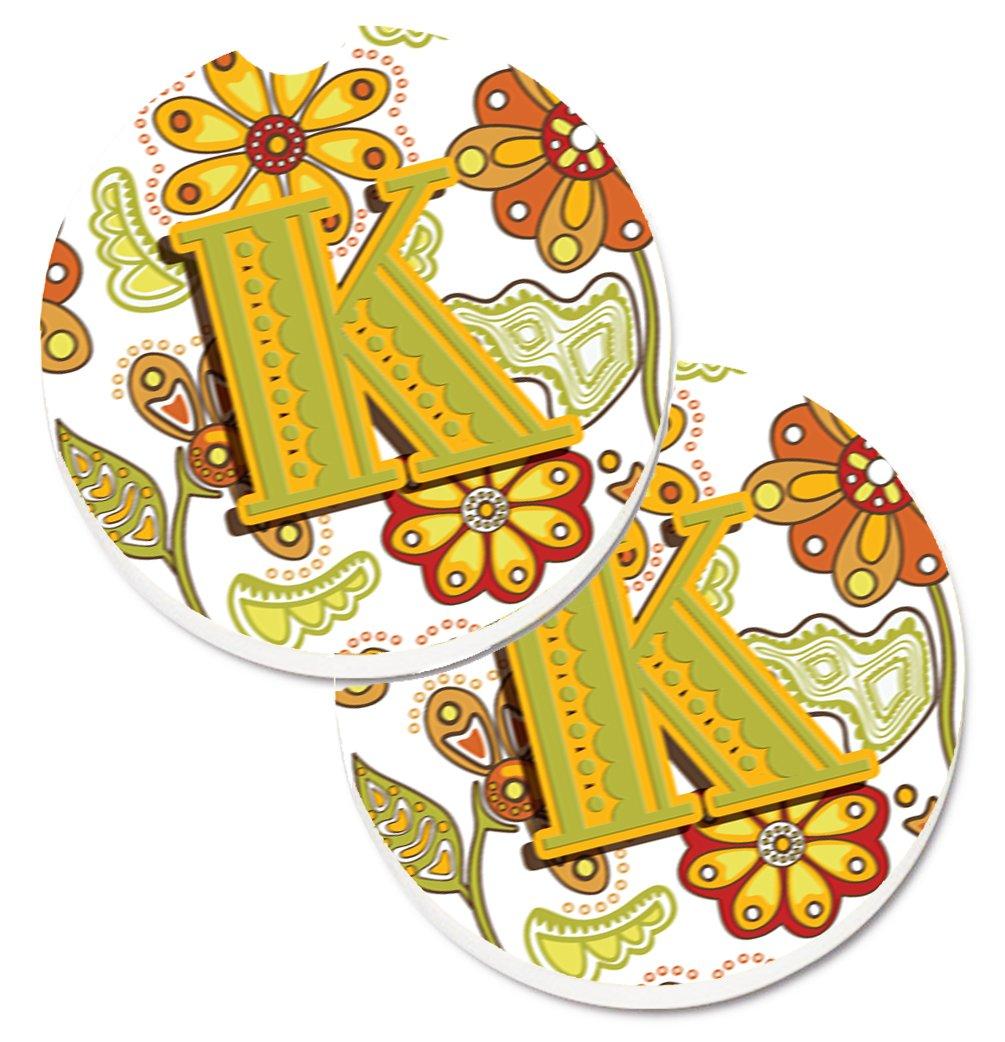 Multicolor Carolines Treasures Letter N Retro Teal Orange Musical Instruments Initial Set of 2 Cup Holder Car Coasters CJ2001-NCARC 2.56