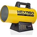 HEXAGO - 60,000 BTU Adjustable Portable Liquid Propane Gas Forced Air Heater, Height Adjustable, CSA Listed, Yellow, Heating