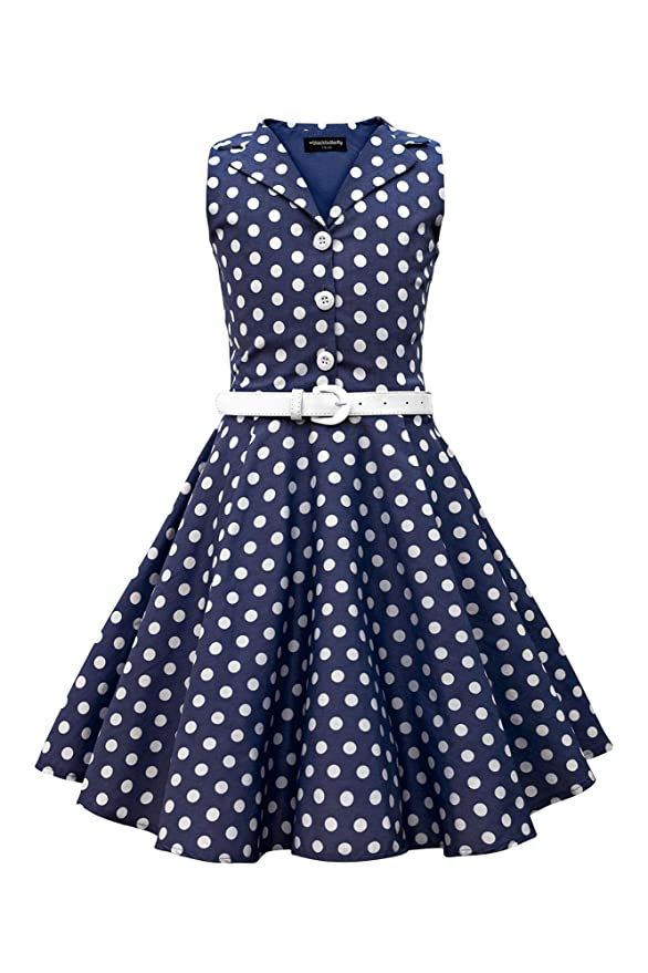 Kids 1950s Clothing & Costumes: Girls, Boys, Toddlers BlackButterfly Kids Holly Vintage Polka Dot 50s Girls Dress  AT vintagedancer.com