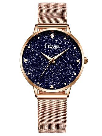 aaca360316 Alienwork Armbanduhr für Damen Marmor-Zifferblatt Uhr mit Mesh-Metallarmband
