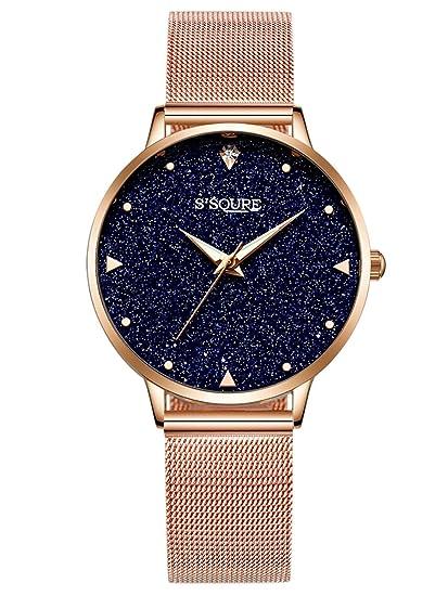 Alienwork Reloj Mujer Relojes Acero Inoxidable Oro Rosa Analógicos Cuarzo Negro Impermeable Esfera del mármol Verdadero