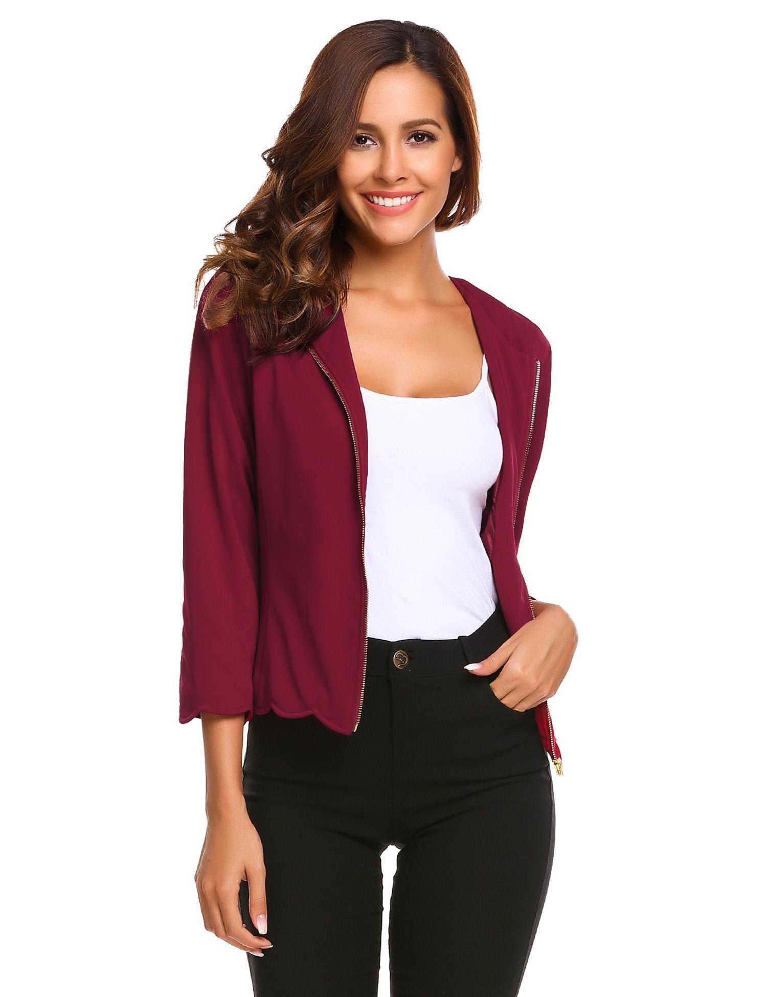 etuoji Women Short Red Suit Jacket Coat Zip up Wave Hem Elegant Blazer Top