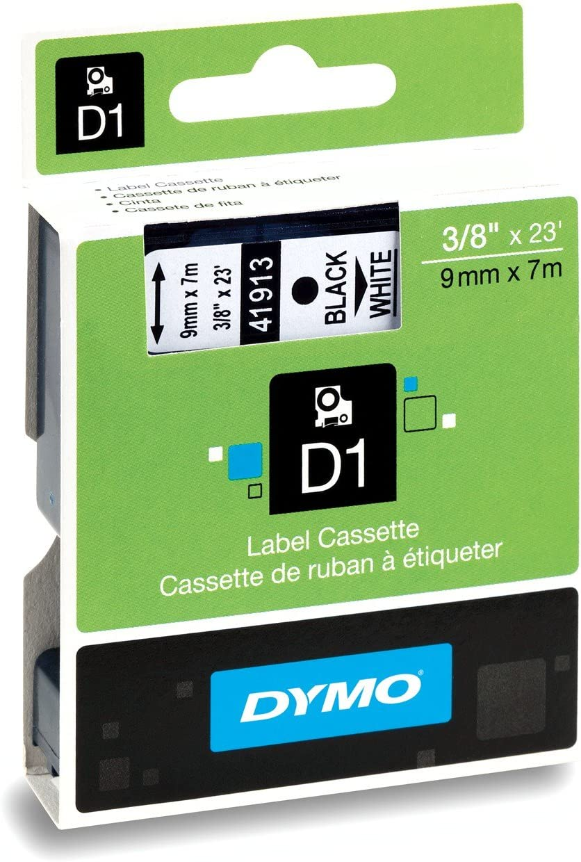 B00004Z5WH DYMO Standard D1 Labeling Tape for LabelManager Label Makers, Black print on White tape, 3/8'' W x 23' L, 1 cartridge (41913) 71R47TdvBWL