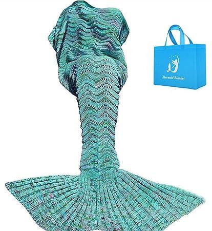 Mantas de cola de sirena para adultos Patrón hecho a mano de las escalas de pescados