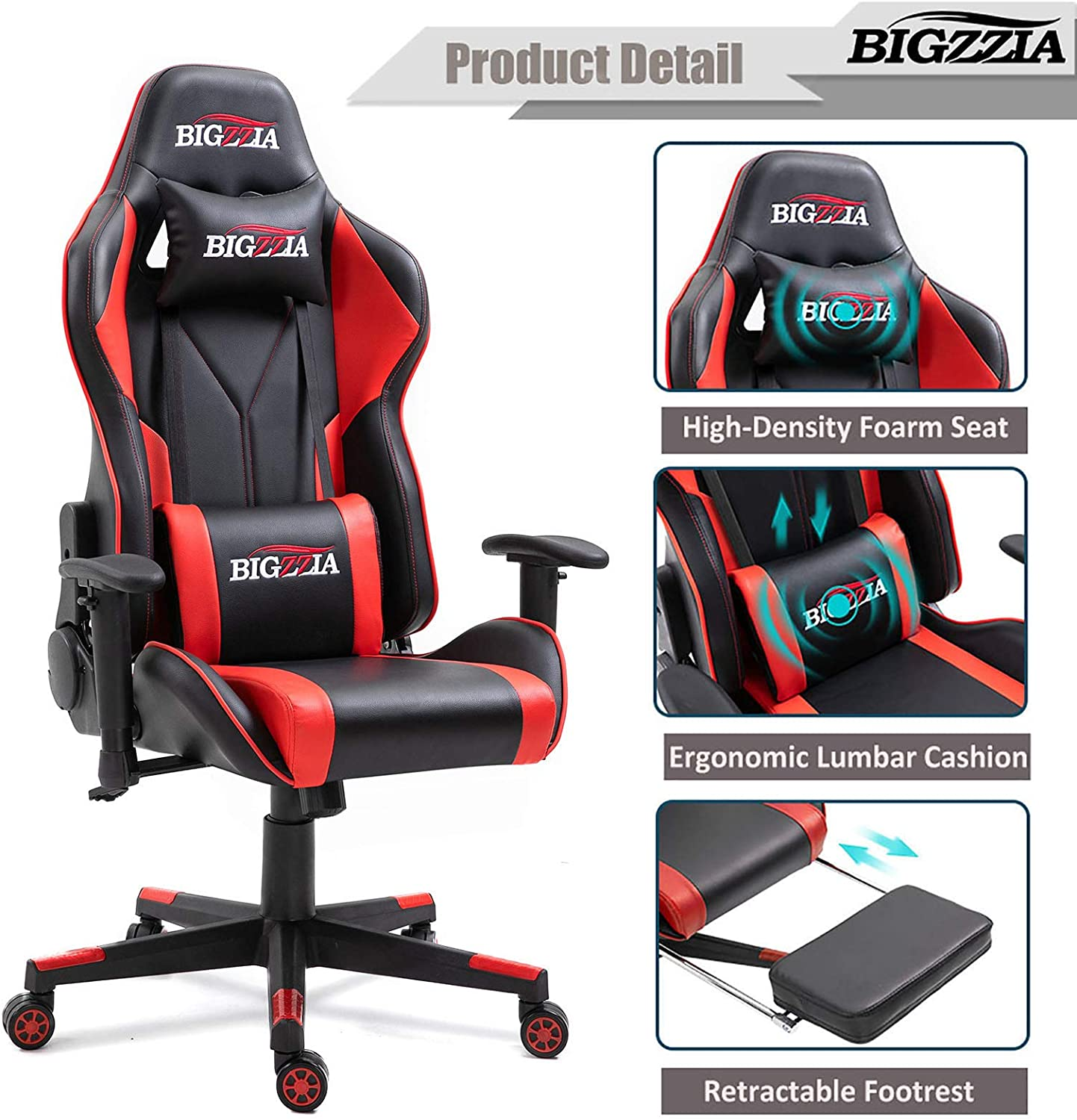 Dripex Gaming Chair Blue Without Footrest Adjustable Swivel Leather Racing Computer Desk Chair With Lumbar Support