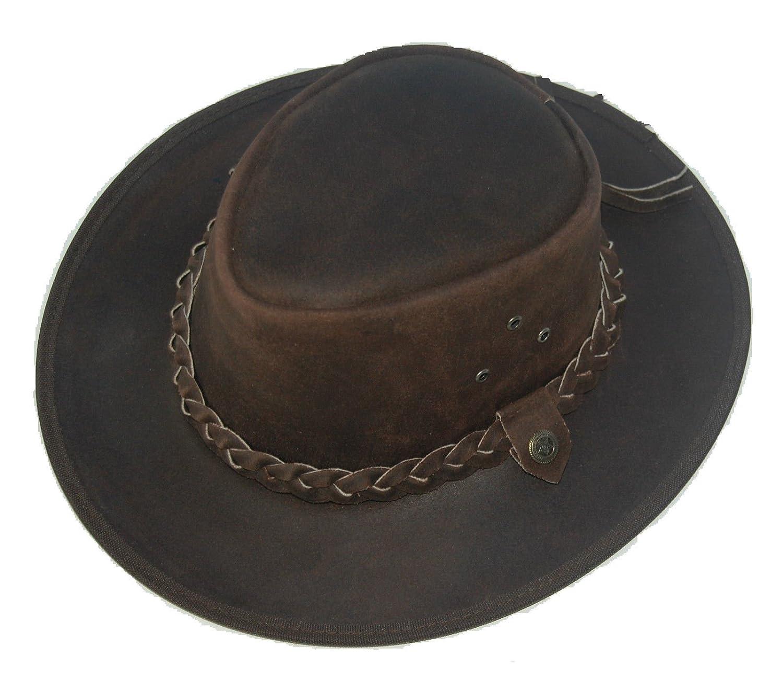 LESA COLLECTION LEATHER COWBOY WESTERN AUSSIE STYLE OUTBACK BUSH HAT 2b