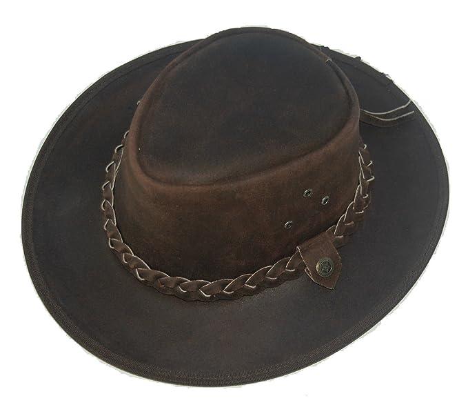 Leather Cowboy Western Aussie Style Outback Bush HAT 2b  Amazon.co ... ff8209976497