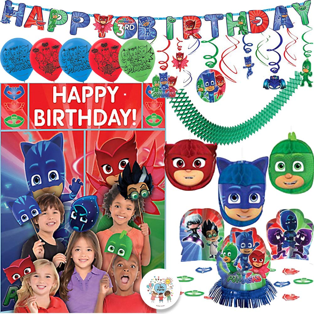 PJ Masks Birthday Party Decoration Supply Pack With 6 Balloons, Table Deco Kit, Hanging Swirl and Honeycomb Deco, Add An Age Birthday Banner, Scene Setter and Photo Props, Garland, and Exclusive Pin by Another Dream