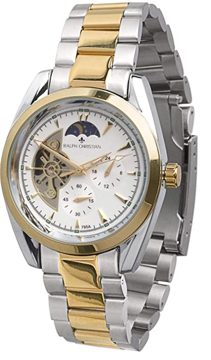 Amazon.com: RALPH CHRISTIAN Mens Automatic Watch Zurich Two-Tone Wrist Watches Gold Stainless Steel Band Self Winding Mechanical Movement: Watches