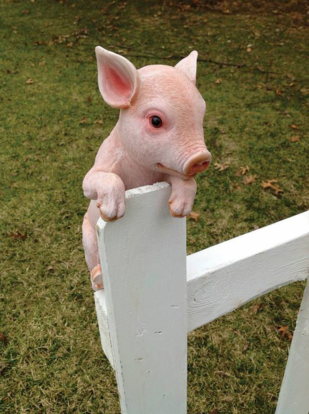 Hang on Piglet 13 Inch Hanger Resin Outdoor Fence Figurine