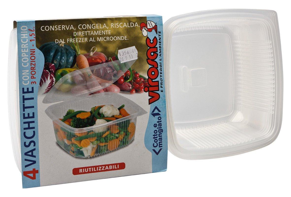 Virosac 112759 vaschette Microondas y congelar, 18 x 35 x 10 cm, 4 ...