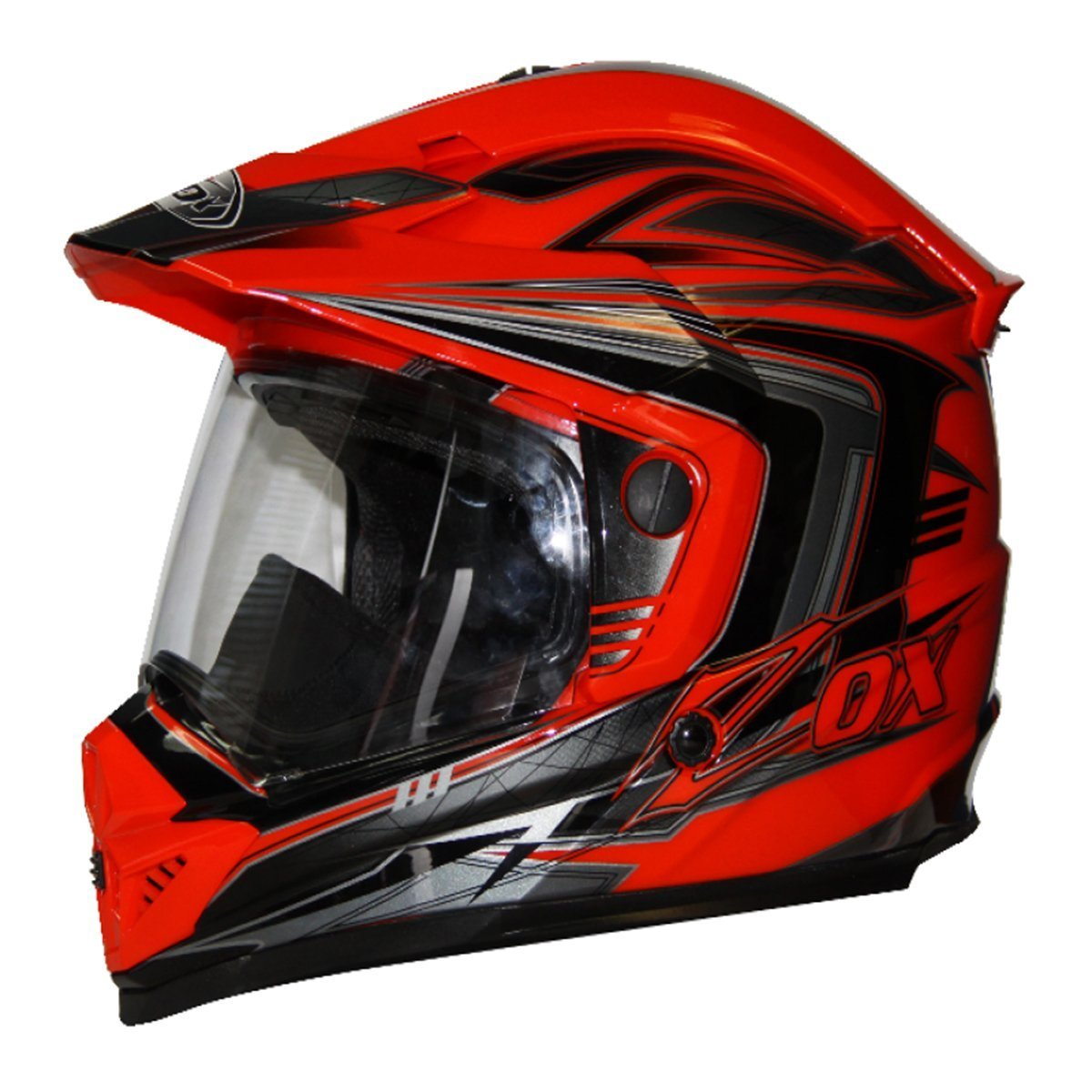 Prime Dark, Silver, Large Zox Rush SFX Full Face Multi-Purpose Motorcycle Helmet w//Visor Motorcycle ATV Off Road MX Enduro