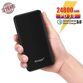 Xnuoyo 24800mAh PD Power Bank, USB-C 18W Batería Externa QC3.0 Cargador Portátil Externo Carga Rápida Powerbank Compatible con Smartphone
