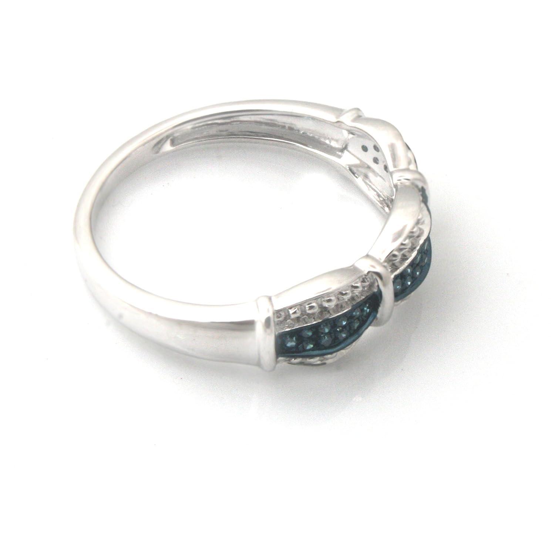 Prism Jewel 0.10 Carat Round Cut Blue Diamond Anniversary Ring