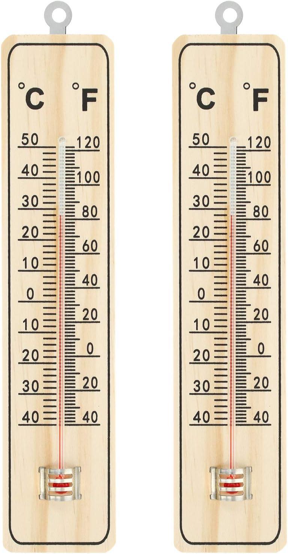 com-four® Termómetro 2X - Termómetro de Madera para Uso en Interiores - Medidor de Temperatura con Escala en Grados Celsius y Grados Fahrenheit (04 Piezas - 22x5x1cm)