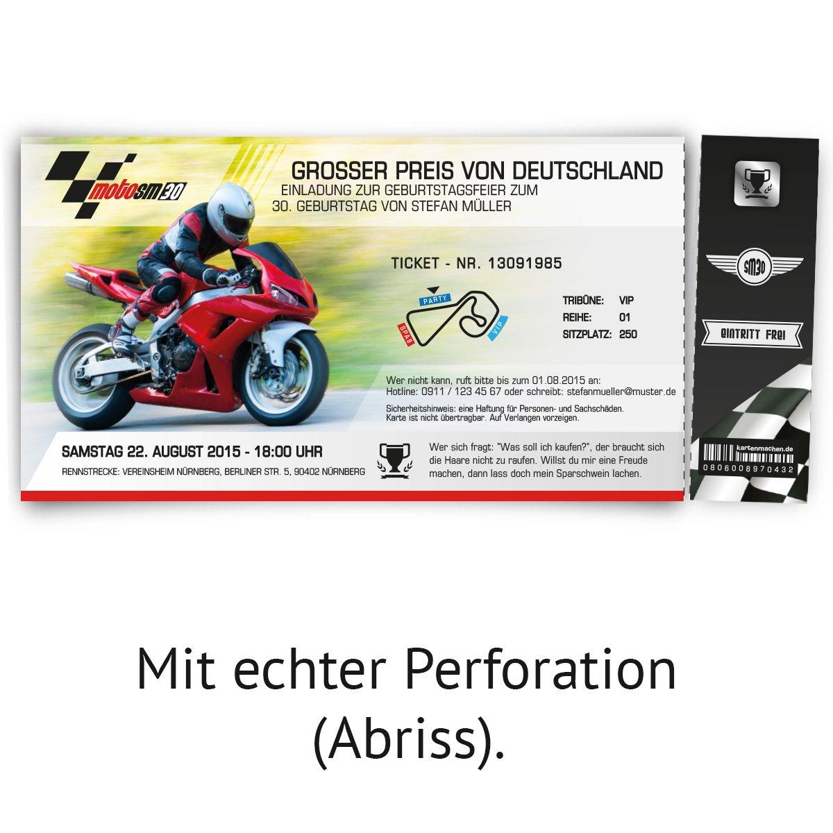 Einladungskarten zum Geburtstag (50 Stück) als Motorrad Rennen ...