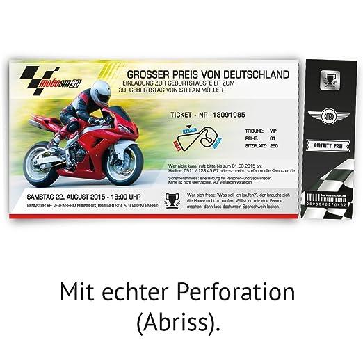 Très Cartes d'invitation pour anniversaire 20 de moto de course ticket  UG32
