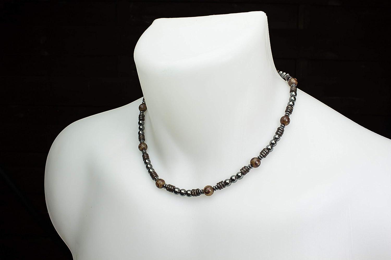 H/ématite Bois Cocotier//Coco Acier inoxydable COLLITIBA18 Collier Taille 46-52cm Style Tib/étain Homme//Femme perles pierres naturelles Agate /Ø8mm
