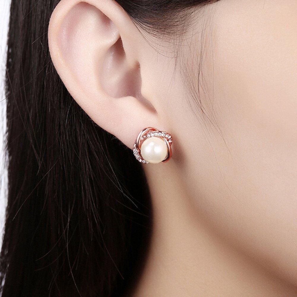Ularma Women Vintage Popular A Pair Rose Shaped Pearl Stud Earrings Sensitive Ears Wedding Gift for Women Girls Teens