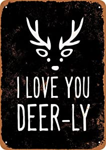 I Love You Deer-ly (Black Background) Vintage Look 8x12 Inches Metal Tin Sign Retro - Wall Decor Plaque Poster