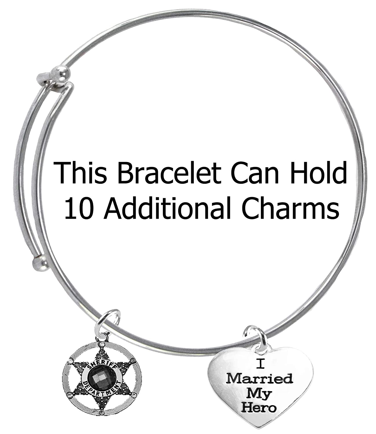I Married My Hero Hypoallergenic Safe-Nickel Cardinali Jewelry Deputy Sheriffs On A Adjustable Miracle Wire Bracelet Lead and Cadmium Free