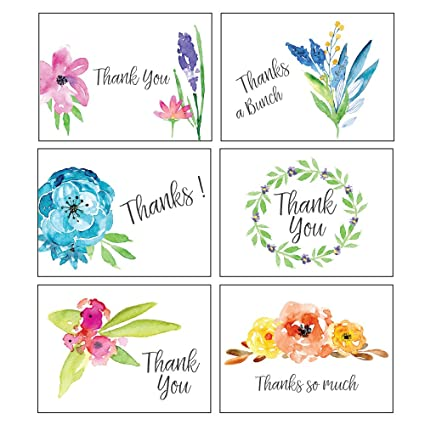 Amazon thank you cards watercolor print assortment 36 note thank you cards watercolor print assortment 36 note card boxed set blank inside with reheart Choice Image
