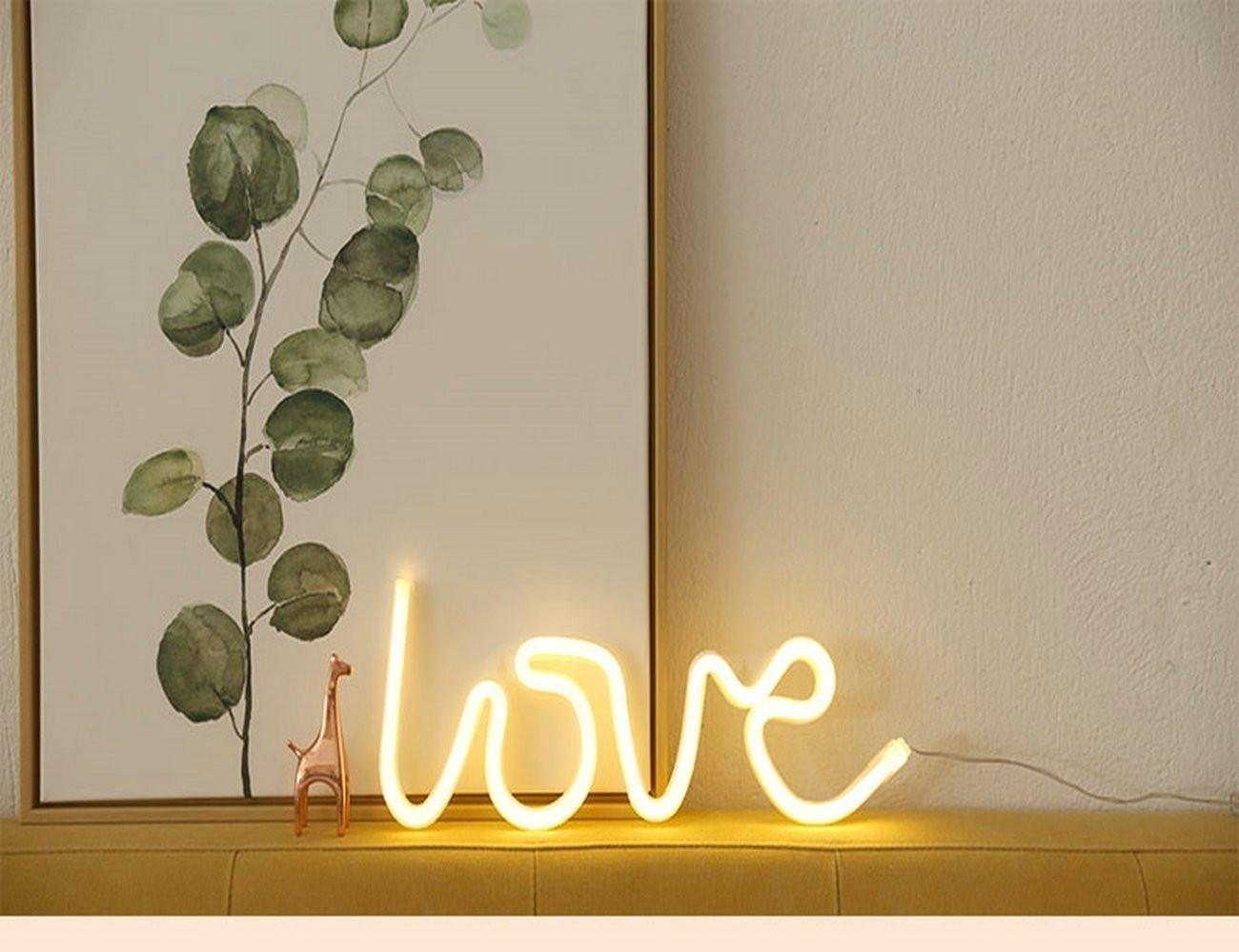 Neon Signs Love Warm White,USB Powered Neon Light,LED Lights Table Decoration,Girls Bedroom Wall Décor,Kids Birthday Gift,Wedding Party Supplies Neon Sign