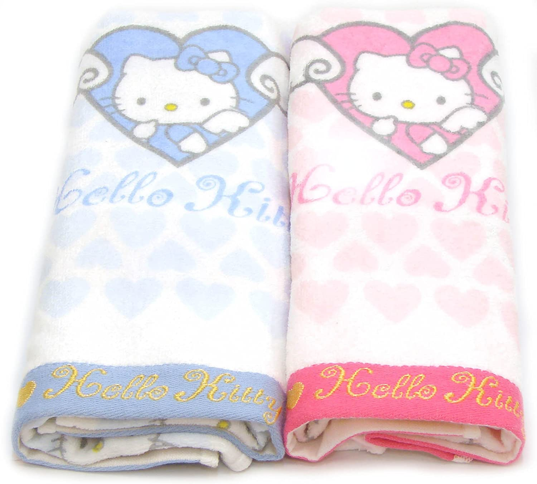Amazon.com: Hello kitty Towel Set 2 pcs 31.5X15.7 100% cotton bath shower Pink Blue: Home & Kitchen