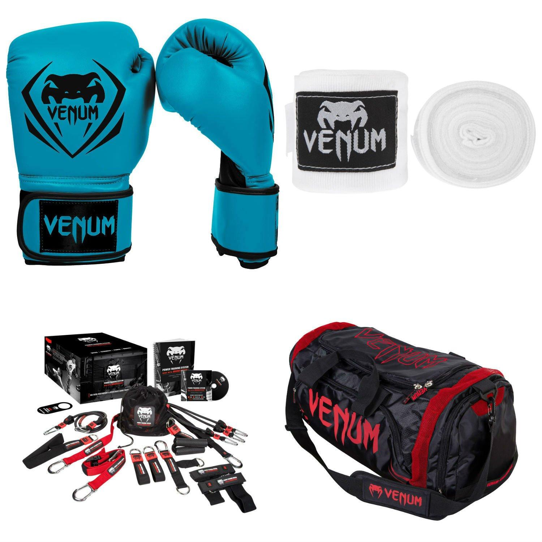 Venum Contender Training Bundle 14 Blue Gloves, White Handwraps, Red Devil Sport Bag US-VENUM-BDLCTTR-BLUE14-RD-White
