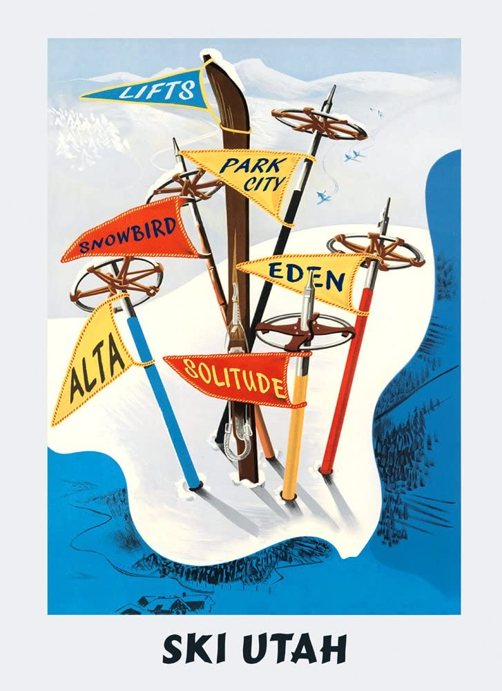 Ski Skiing in Utah Snowbird Park City Solitude Alta Eden Lifts Sport Vintage Poster Repro 16