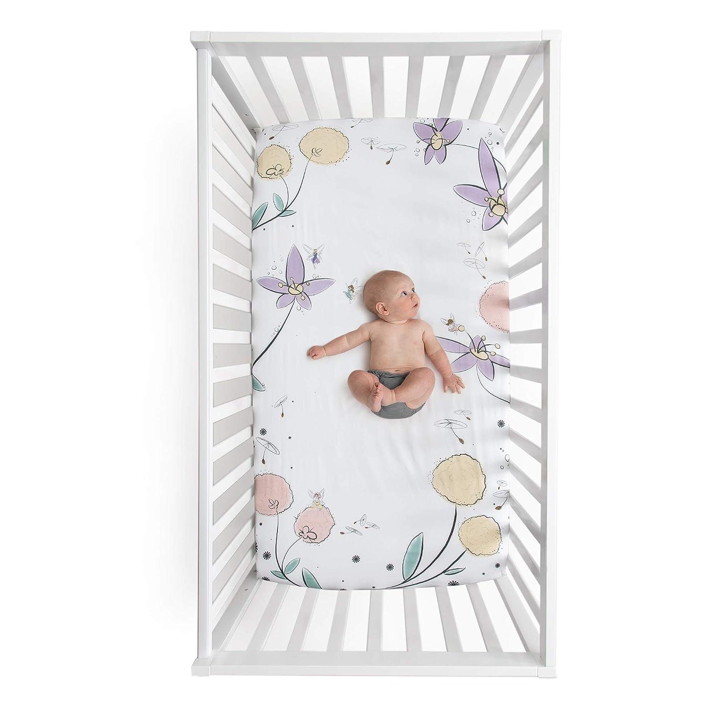 100% Cotton Super Soft Crib Sheet - Hypoallergenic and Breathable - Original Design by JumpOff Jo - Fairy Blossoms