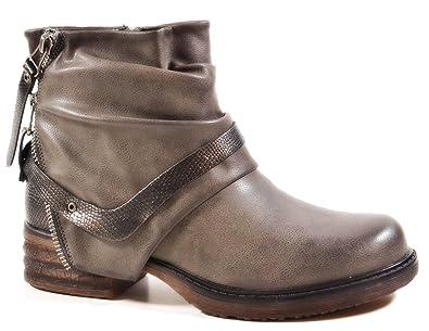 Damen Stiefeletten Biker Boots Nieten Schnallen Knöchelhohe Stiefel Leder-Optik  380 (36, Grau bcddb504fc