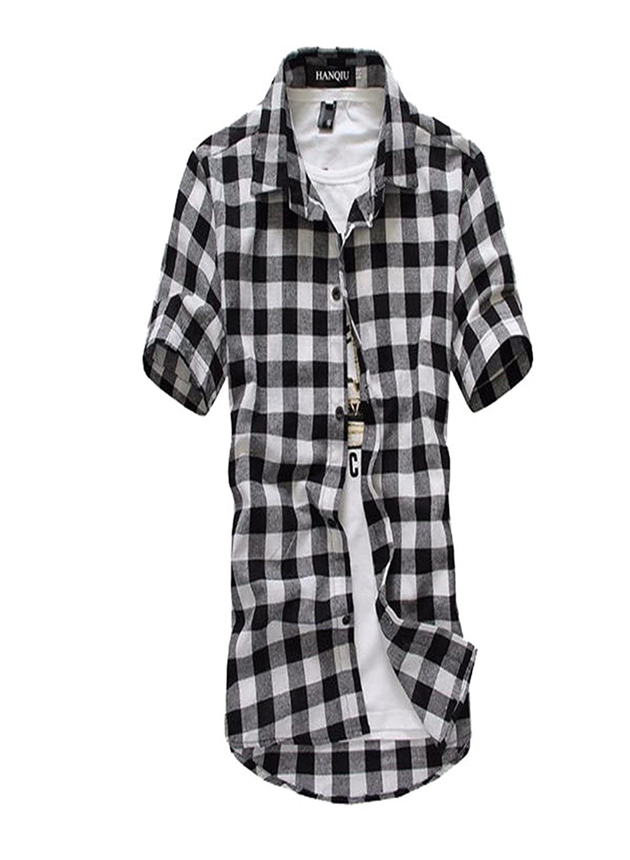 8bf77baf6a7 Plaid Shirt Men Shirts New Summer Fashion Chemise Homme Mens Checkered  Shirts Short Sleeve Shirt Men Blouse at Amazon Men s Clothing store
