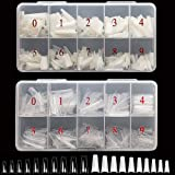 AORAEM Lady French Acrylic Nail Kit Clear and Natural Half Fake Nail Tips 10 Sizes 1000pcs with Box for Women(Clear…