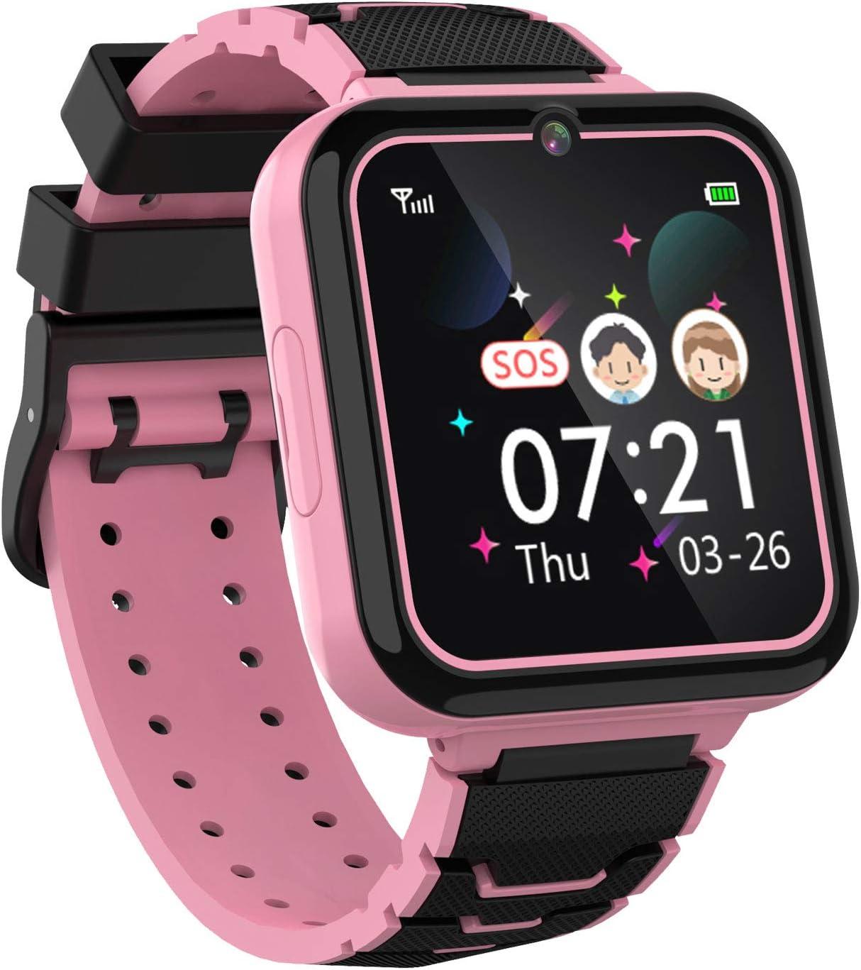 Teléfono Smartwatch para Niños Niñas - Pantalla Táctil de 1.57 ' Con llamada Telefónica SOS Juegos Reproductor de Música Cámara Despertador como Regalo de Cumpleaños para Alumno (ROSADO)
