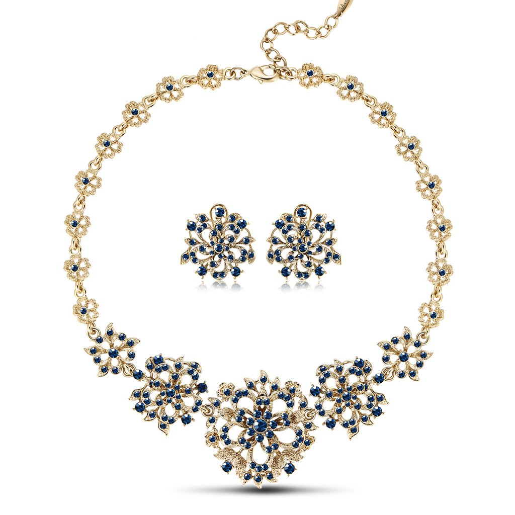 IUHA Cubic Zirconia Snowflakes Eye-catching Statement Necklance and Earrings Luxury Jewelry Sets Party Gift by IUHA
