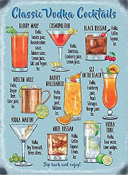 Amazon Com New 15x20cm Classic Vodka Cocktail Recipe Metal