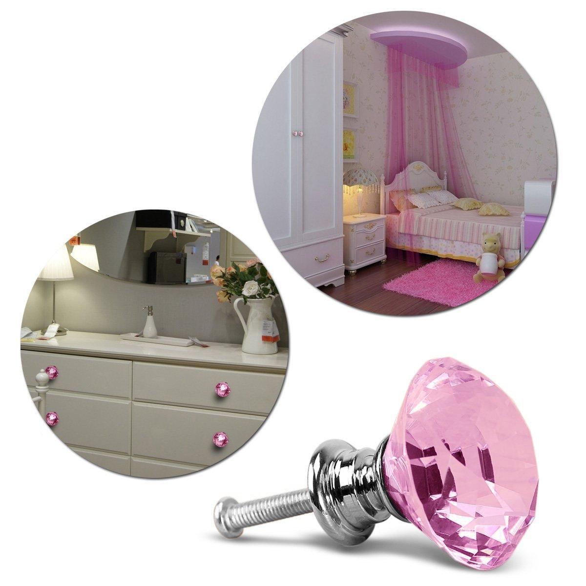 Tinksky 8pcs 30mm Diamond Glass Door Knob Kitchen Cupboard Drawer Pull Handle Pink
