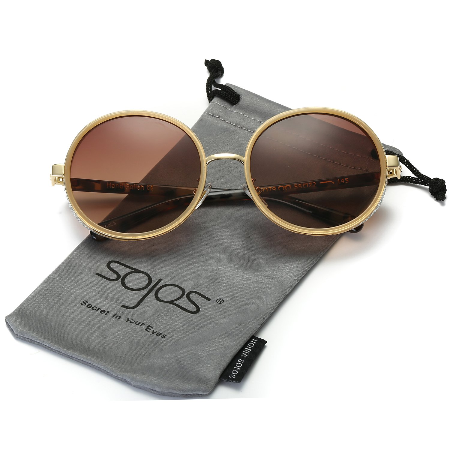 SojoS Retro Gothic Steampunk Round Mirrored Blingbling Classsic Women Sunglasses SJ2022 (C05 Brown Frame/Brown Lens, 56) by SOJOS