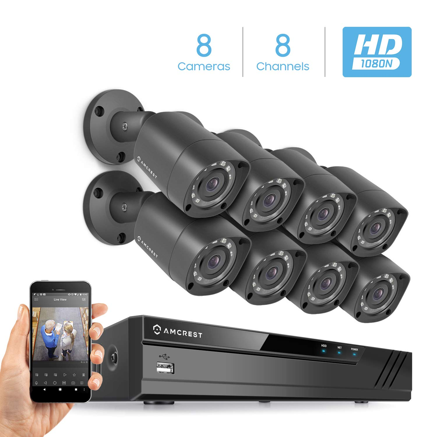 Amcrest 1080-Lite 16CH DVR Video Security Recorder, ProHD Pentabrid (5-in-1) Supports AHD, HD-TVI, HD-CVI, 960H, IP Cameras, HDD & Cameras NOT Included, Security Camera System (AMDVTENL16)