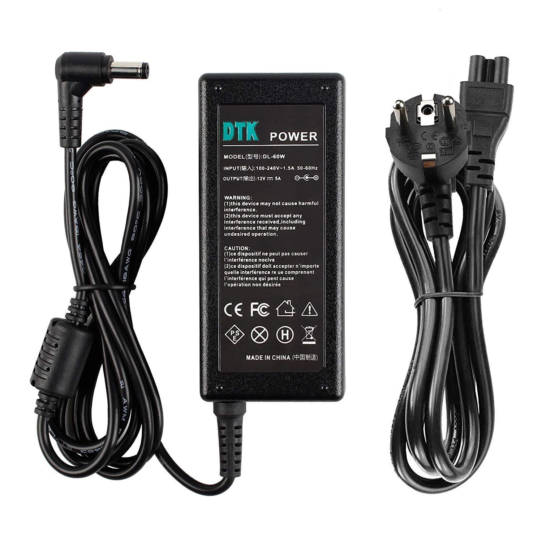 DTK Adaptador Cargador alimentación para LCD TFT Monitors TVs DVDTVs Freebox V5 HD V6 Output: 12V 5A 60W (Compatible 12V 3A 36W / 12V 4A 48W)  ...