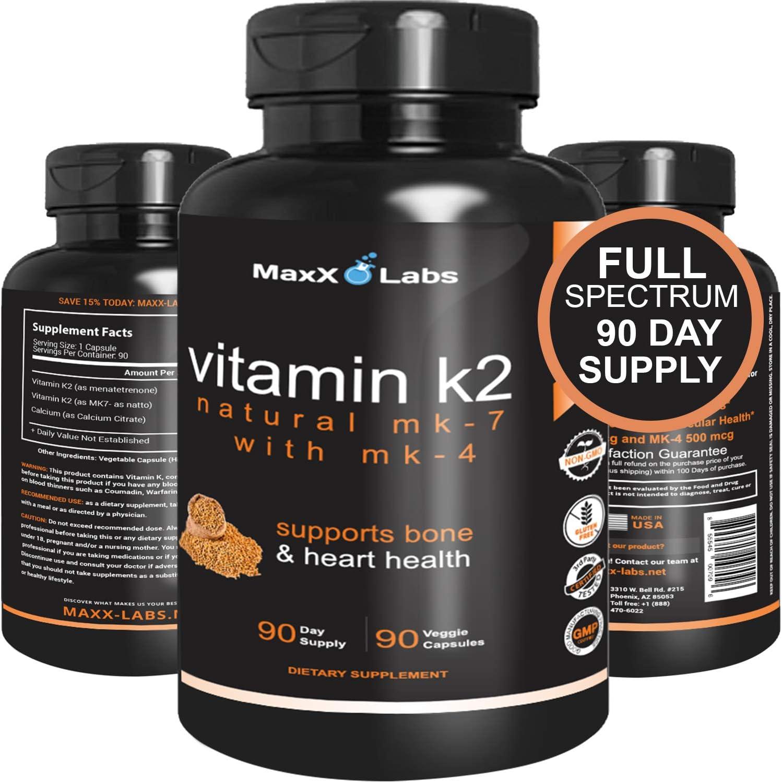 Amazon Com Best Vitamin K2 600 Mcg Full Spectrum All Natural Mk7 Natto And Mk4 Plus Calcium 100 Mg Vitamins K Mk 7 Mk 4 No Gmos Vegan K2 Mk7 Supplement Complex
