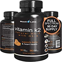 Best Vitamin K2 - 600 mcg - Full Spectrum - All Natural MK7 Natto and MK4 Plus Calcium...