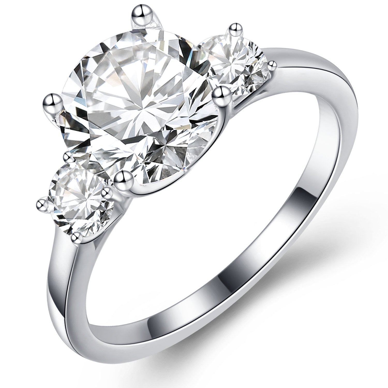 7298400124e96 GuqiGuli 925 Sterling Silver 3 Carat Round-Cut Three Stone Cubic Zirconia  Engagement Rings for Women