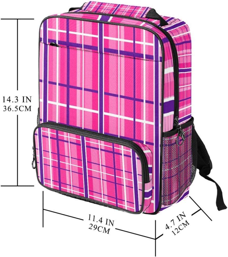 Casual School Backpack Gingham Hot Pink Navy White Print Laptop Rucksack Multi-Functional Daypack Book Satchel
