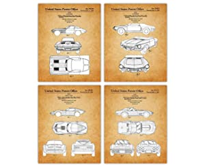 Vintage Corvette Patent Poster Prints – Set of 4 Unframed 8x10 Photos - Unique Wall Art for Home, Room, Dorm & Office Decor - Great Gift Idea Under $20 for Corvette & Sports Car Enthusiasts